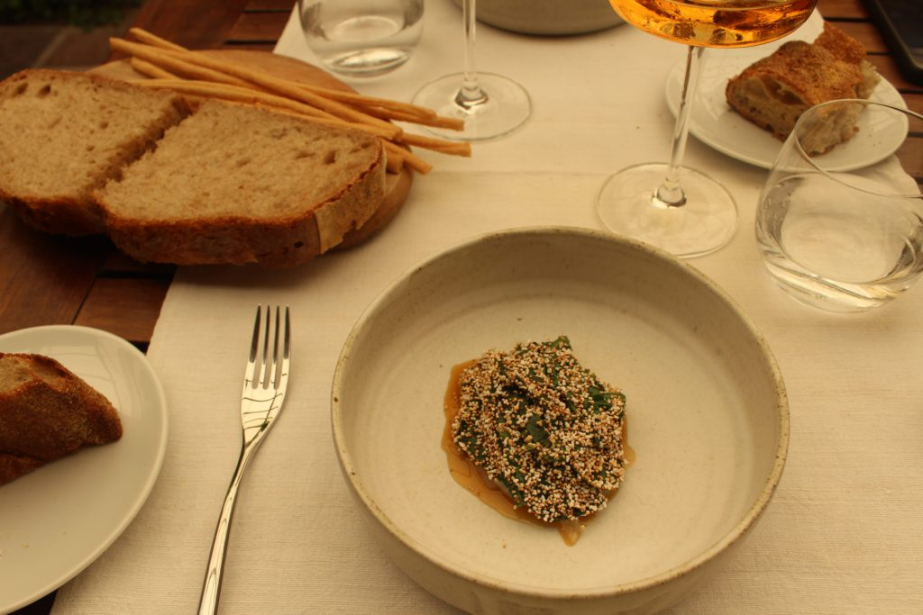 gamberi, spinacino e bergamotto