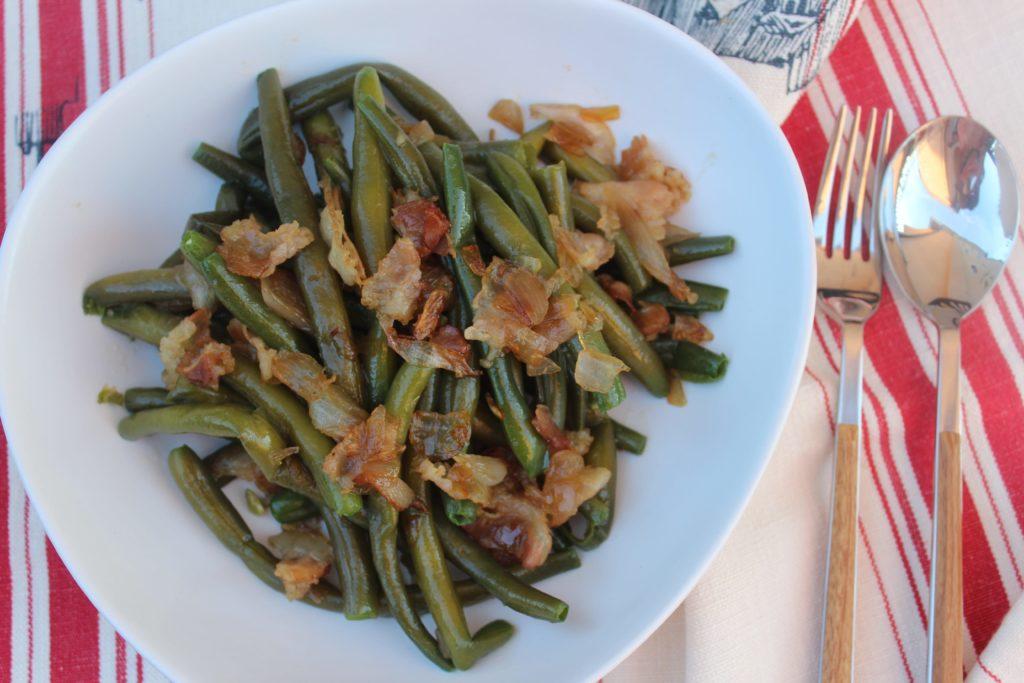 insalata di fagiolini con bacon croccante