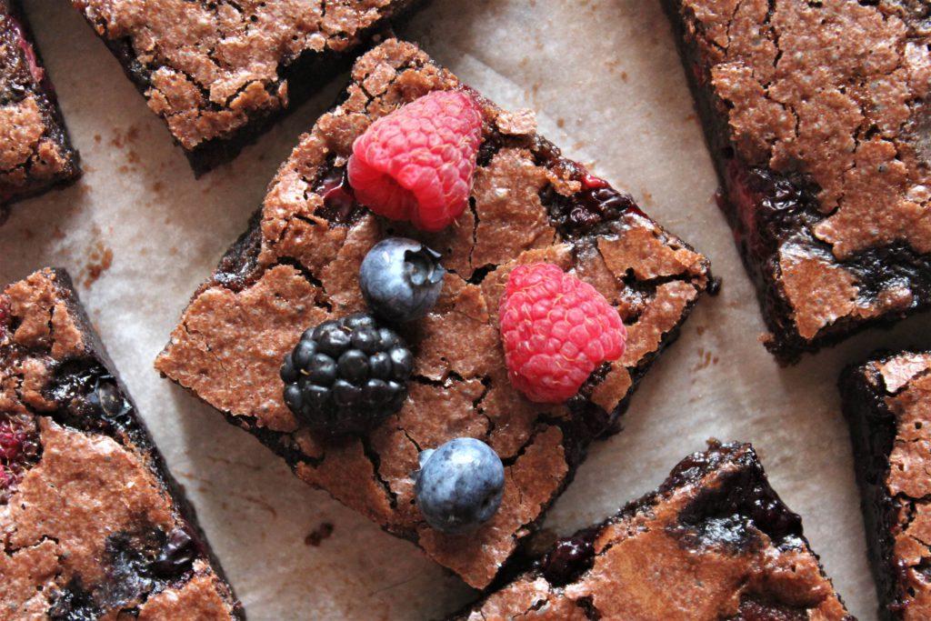 brownie con lampone e cioccolato
